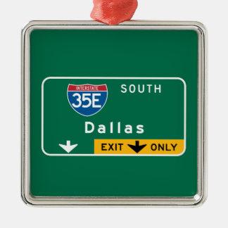 Dallas, TX Road Sign Silver-Colored Square Decoration