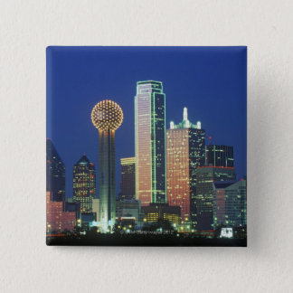 'Dallas, TX skyline at night with Reunion Tower' 15 Cm Square Badge