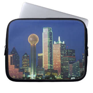 'Dallas, TX skyline at night with Reunion Tower' Laptop Sleeve