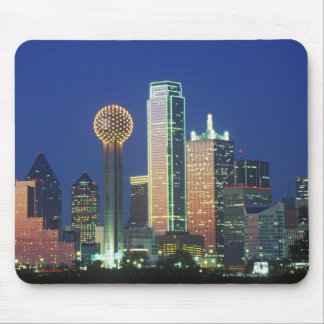 'Dallas, TX skyline at night with Reunion Tower' Mouse Pad