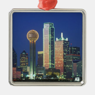 'Dallas, TX skyline at night with Reunion Tower' Silver-Colored Square Decoration