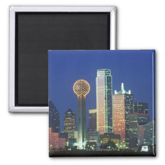 'Dallas, TX skyline at night with Reunion Tower' Square Magnet
