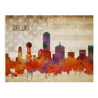 Dallas, TX | Watercolor City Skyline Postcard