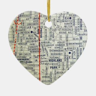 Dallas Vintage Map Ceramic Heart Decoration