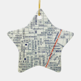 Dallas Vintage Map Ceramic Star Decoration
