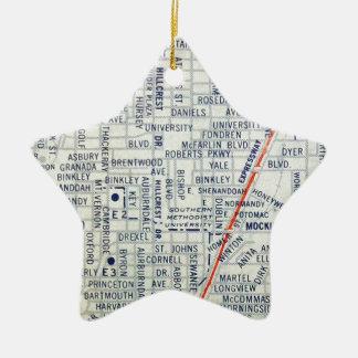 Dallas Vintage Map Christmas Ornament