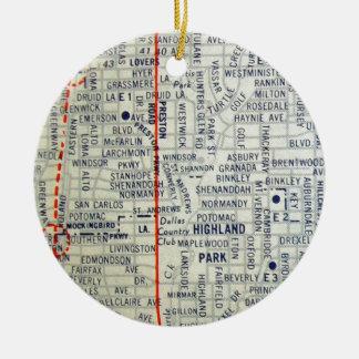 Dallas Vintage Map Round Ceramic Decoration