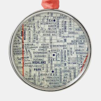Dallas Vintage Map Silver-Colored Round Decoration