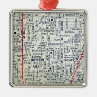 Dallas Vintage Map Silver-Colored Square Decoration