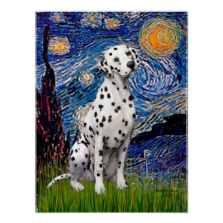 Dalmatian 1 - Starry Night (Vert.) Poster