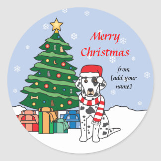 Dalmatian and Christmas Tree Classic Round Sticker