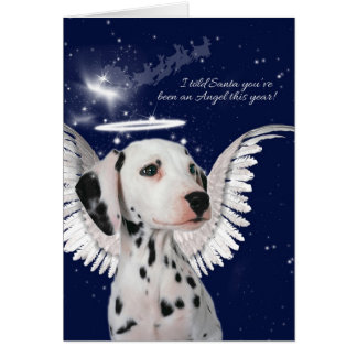 Dalmatian Angel Dog with Wings Christmas Card