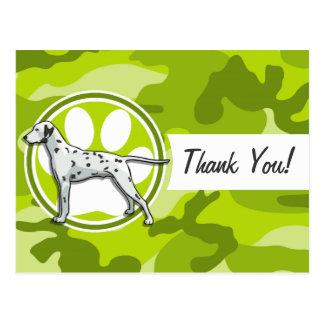Dalmatian; bright green camo, camouflage postcards