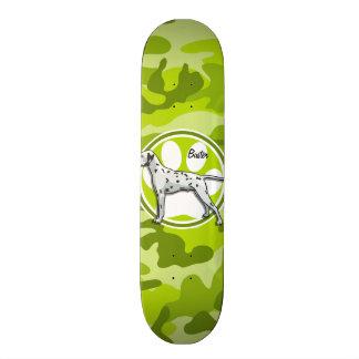 Dalmatian; bright green camo, camouflage skate board deck