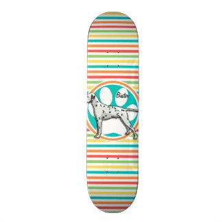 Dalmatian; Bright Rainbow Stripes Skateboard