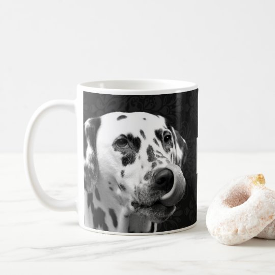 DALMATIAN DAMASK BLACK AND WHITE MUG