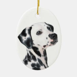 Dalmatian dog beautiful photo, gift ceramic oval decoration