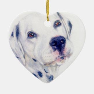 Dalmatian dog ceramic heart decoration