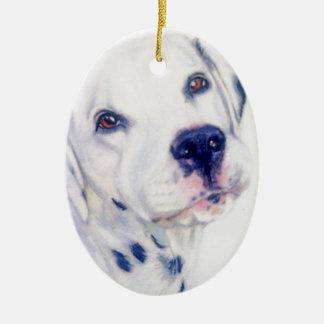 Dalmatian dog ceramic oval decoration