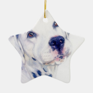 Dalmatian dog ceramic star decoration