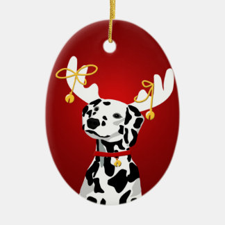 Dalmatian Dog Christmas Deer Ornament