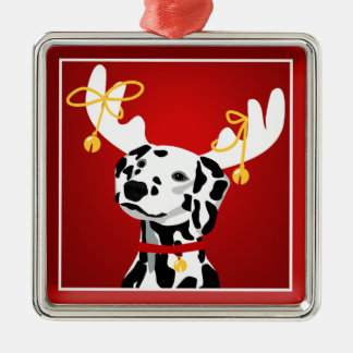 Dalmatian Dog Christmas Deer Premium Ornament
