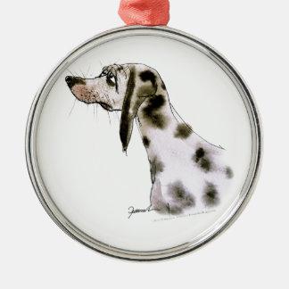 dalmatian dog, tony fernandes Silver-Colored round decoration