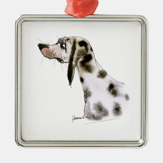dalmatian dog, tony fernandes Silver-Colored square decoration