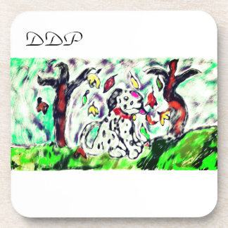 Dalmatian fall art coaster