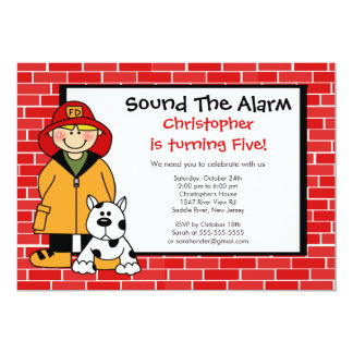 Dalmatian Fireman Boy Birthday Party 13 Cm X 18 Cm Invitation Card