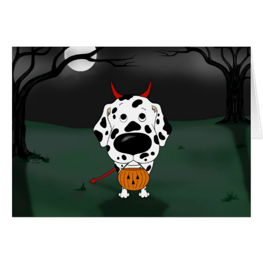 Dalmatian Halloween Devil Card