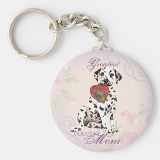 Dalmatian Heart Mom Basic Round Button Key Ring