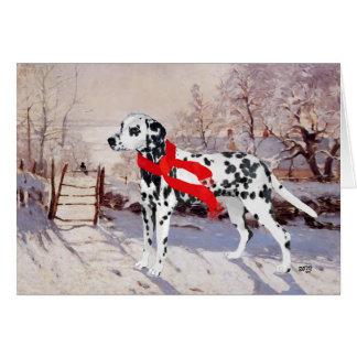 Dalmatian in Winter Scene Card