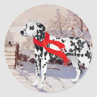 Dalmatian in Winter Scene Classic Round Sticker