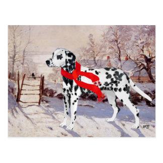 Dalmatian in Winter Scene Postcard