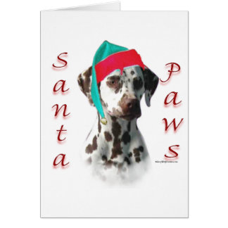 Dalmatian (liver) Santa Paws Greeting Card