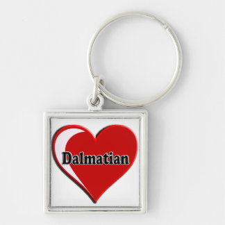 Dalmatian on Heart for dog lovers Silver-Colored Square Key Ring