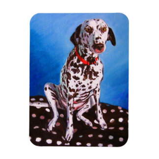 Dalmatian on spotty cushion 2011 rectangular photo magnet