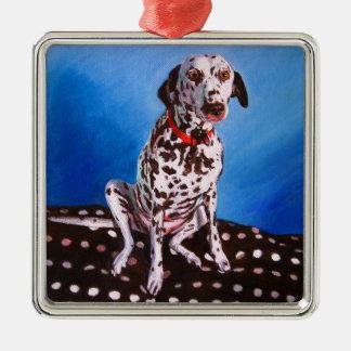 Dalmatian on spotty cushion 2011 Silver-Colored square decoration