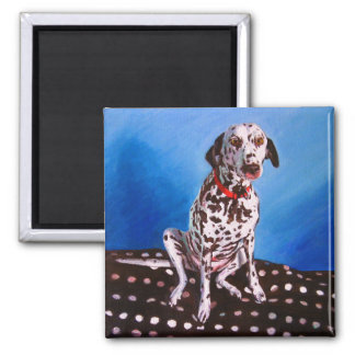 Dalmatian on spotty cushion 2011 square magnet