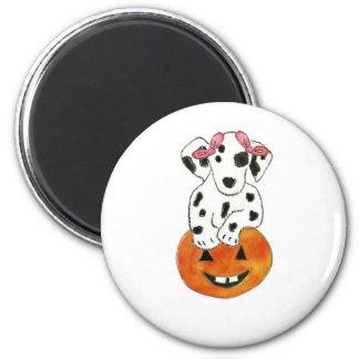Dalmatian Pumpkin Pink Bows Fridge Magnets