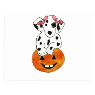 Dalmatian Pumpkin Pink Bows Postcard
