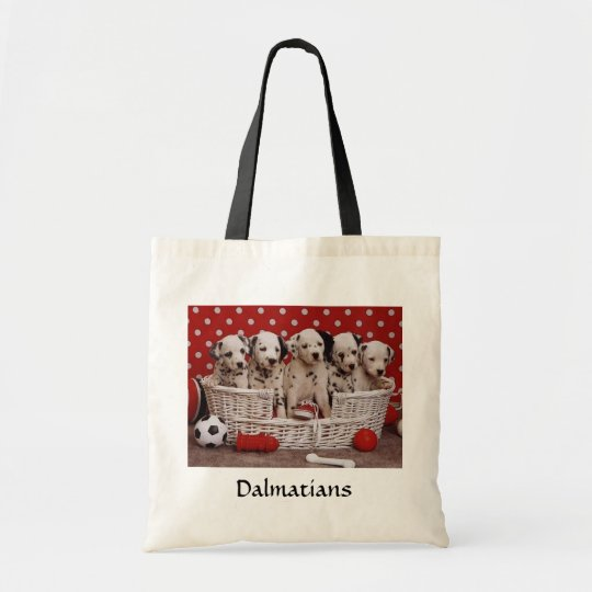 Dalmatian Puppies in a Basket Budget Tote Bag