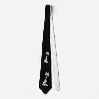 Dalmatian Puppy And White Rose Necktie