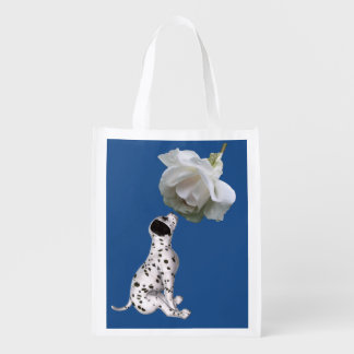 Dalmatian Puppy And White Rose Personalized Reusable Grocery Bag