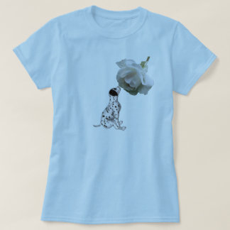 Dalmatian Puppy And White Rose T Shirt