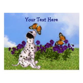 Dalmatian Puppy Butterflies Customizable Postcard