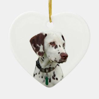 Dalmatian puppy love heart ornament, gift ceramic heart decoration