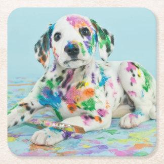 Dalmatian Puppy Square Paper Coaster