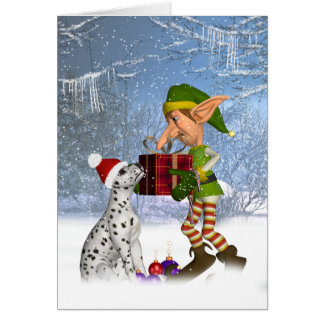 dalmatian puppy with elf Holiday Greeting Card